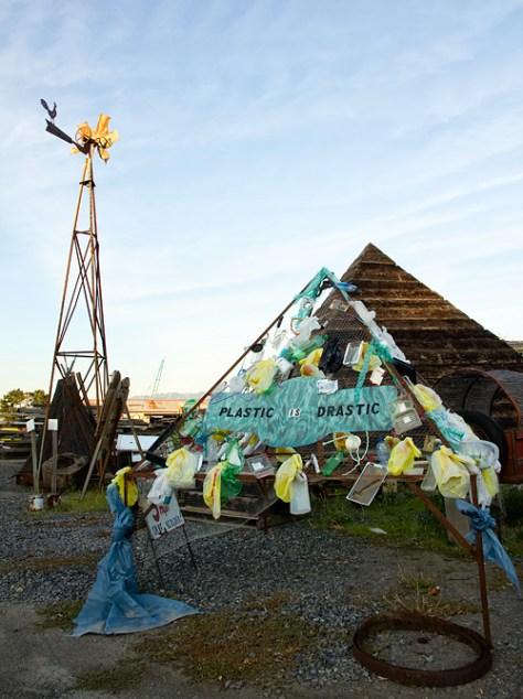 Plastic is drastic pyramid sculpture