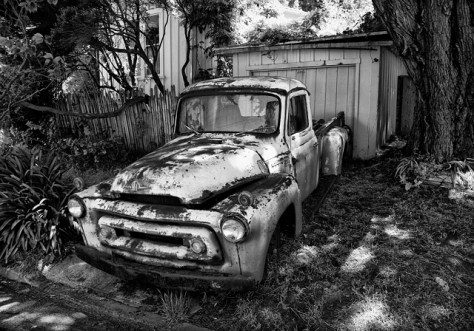Old rusty truck in Bolinas in black and white