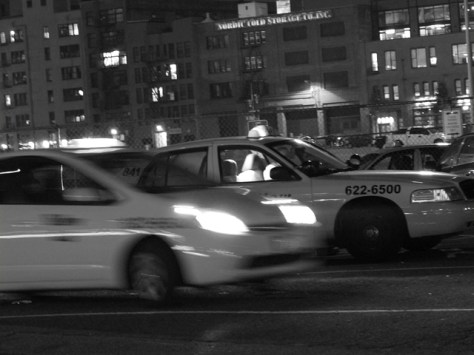 Cabs at night outside the Seattle train station