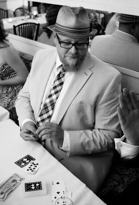 card player in black and white