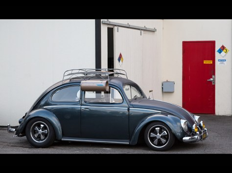 Tricked out VW Bug in front of an NFPA 704 rated warehouse