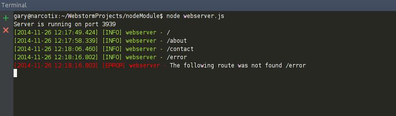 node.js web server with logging