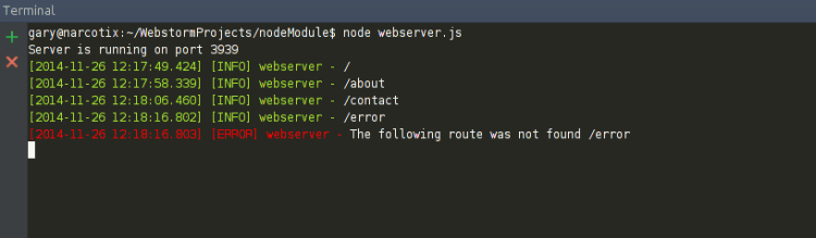 node.js web server with logging
