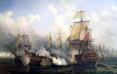 The French ship Redoubtable during her magnificent resistance at the Battle of Trafalgar. It was a musket shot from Redoubtable that mortally wounded Nelson.