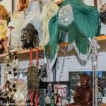 lamp shade, Buddha head, antique purses, jewelry