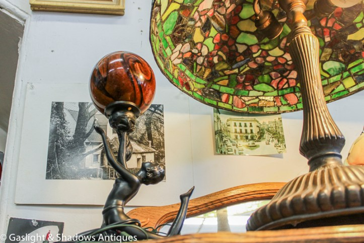 deco lady with ball lamp