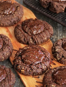 Triple chocolate thumbprint cookies