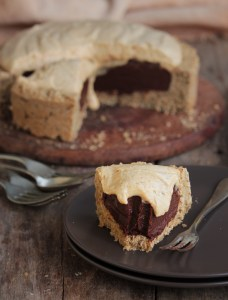Peanut butter mousse and chocolate cream pie