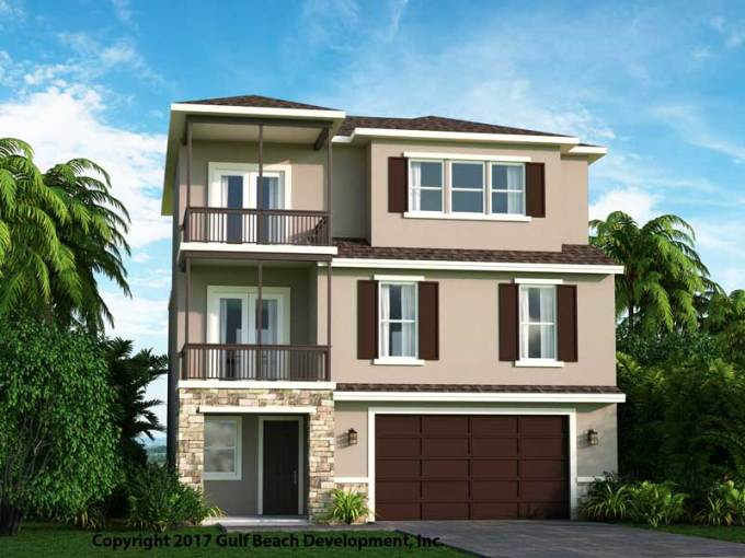 Dolphin Bay   Florida House Plan   Gast Homes Dolphin Bay Front      Dolphin Bay Coastal House Plan Rear