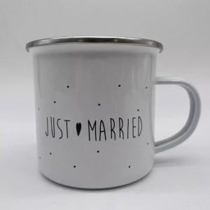 """IMG 2069 - Marcel et Lily - tasse émaillé """"just married"""""""