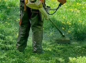 Gasoline Powered Grass Trimming