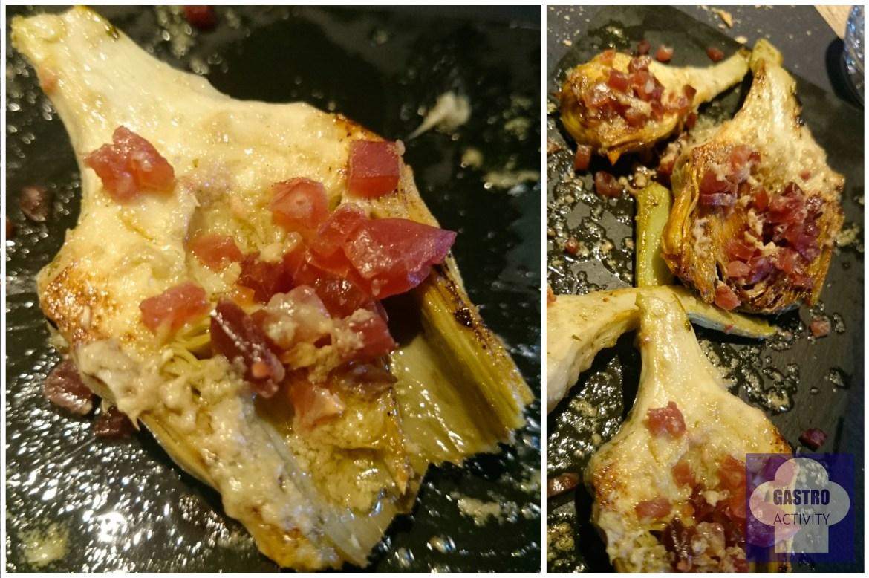 Alcachofas a la parrilla con ibérico y virutas de foie