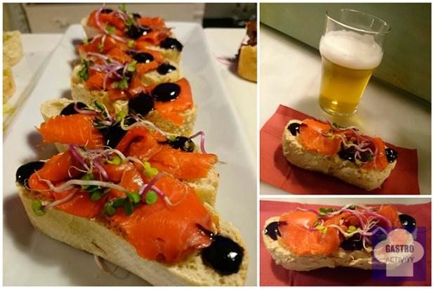 Pincho de salmón ahumado y cerveza La Virgen en restaurante La Colchonería