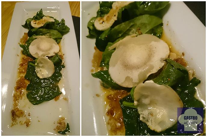 Ensalada de espinacas y champiñon en restaurante Kuiru en Madrid