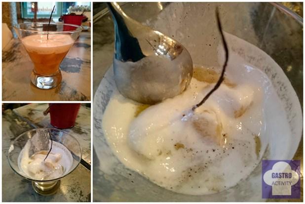 Sopa de pera con vainilla y yogurt en restauarnte Le Coco