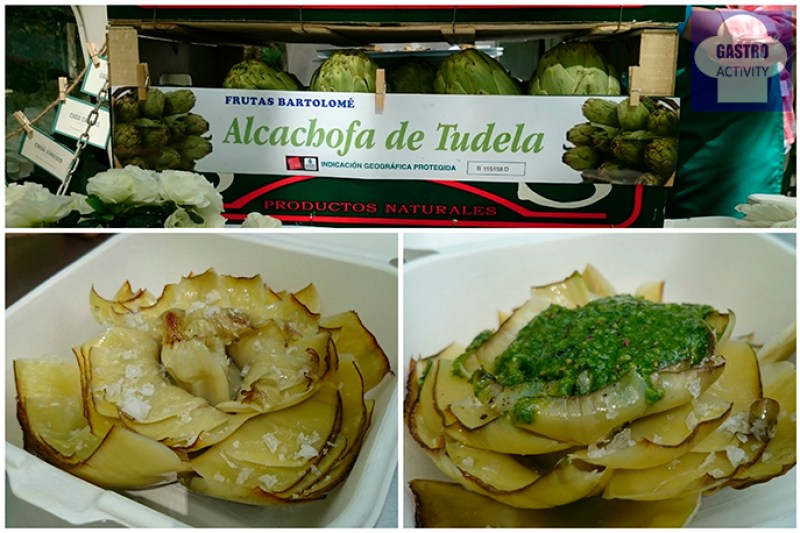 Alcachofas al natural y alcachofas con pesto de Casa Ernesto en la fiesta de la comida callejera de MadrEAT