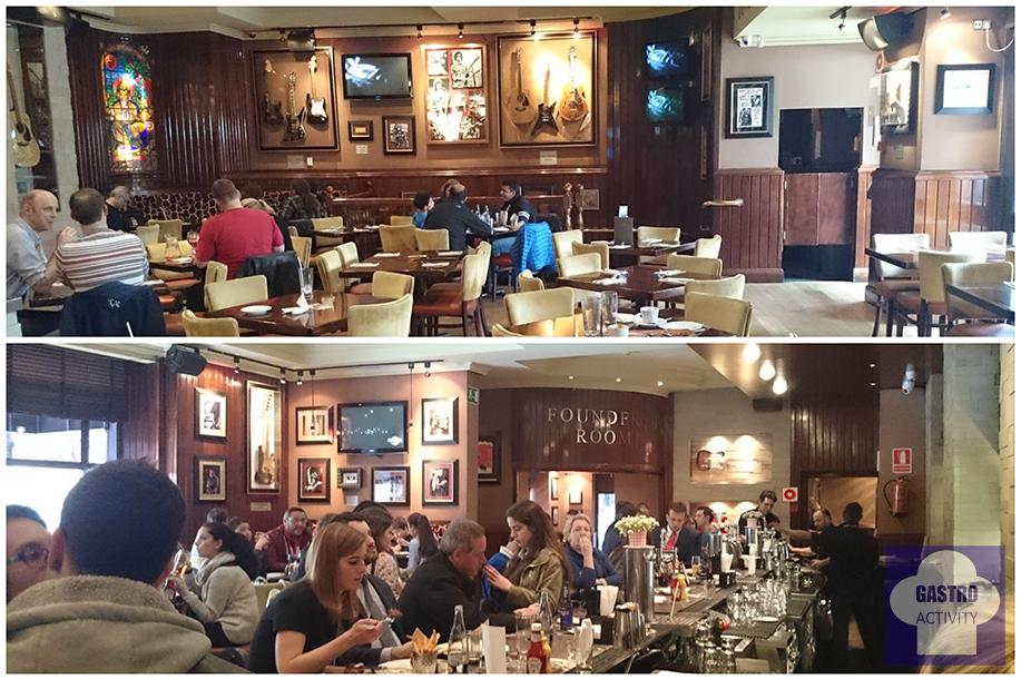 Comedor y zona de barra de Hard Rock Cafe Madrid