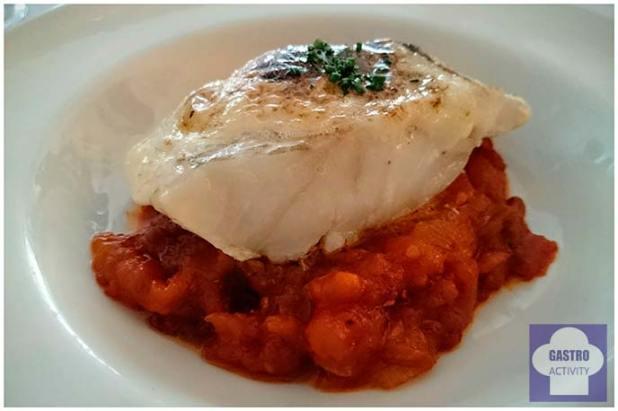 Bacalao con tomate confitado y ali oli gratinado