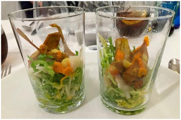 Ensalada tibia de alcachofas con bacalao Restaurante La Navarreria Madrid