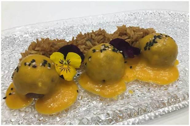 Albóndigas de pulpo al curry rojo Restaurante Conlaya Madrid