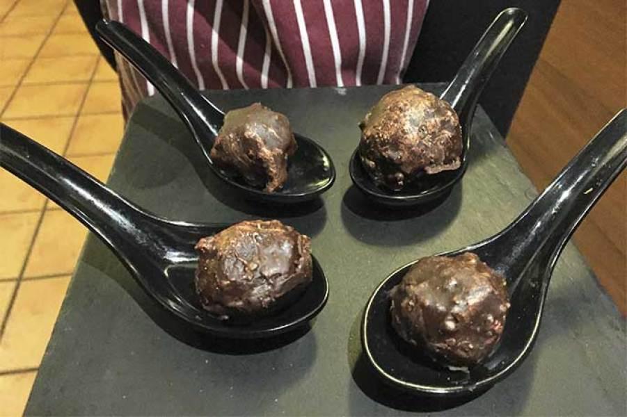 Ferrero Rocher foie Catering del Restaurante Cinco Sentidos