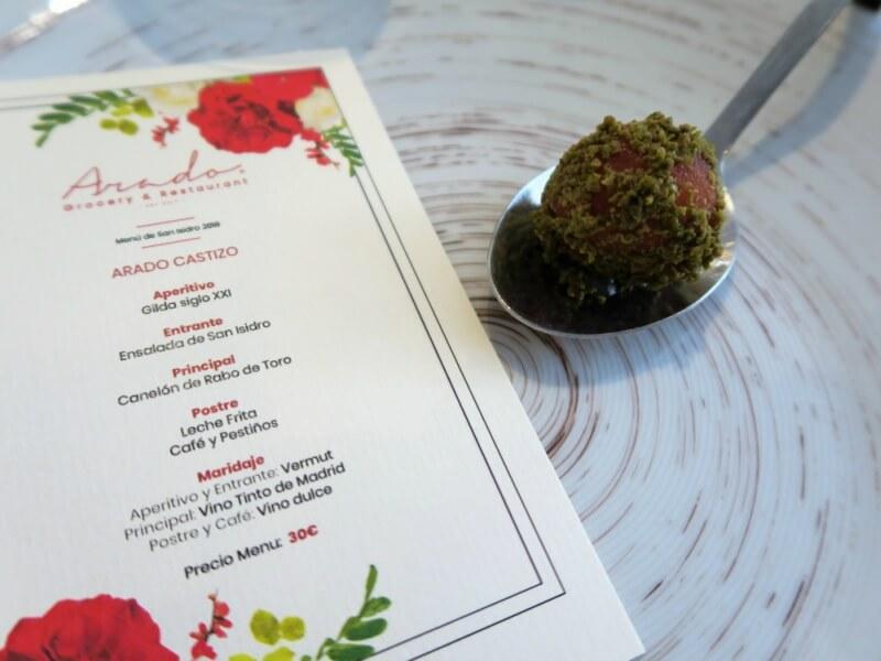 Menu de San Isidro en Arado Grocery & Restaurant en el Hotel Melia Serrano Gilda Siglo XXI
