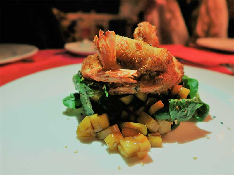 Restaurante La Galette 2 Ensalada de tempura de langostinos