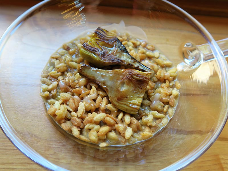 restaurante Abarra Madrid risotto de alcachofas