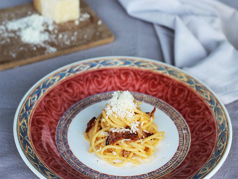 Spaguetti alla Carbonara receta restaurante Orobianco en Calpe