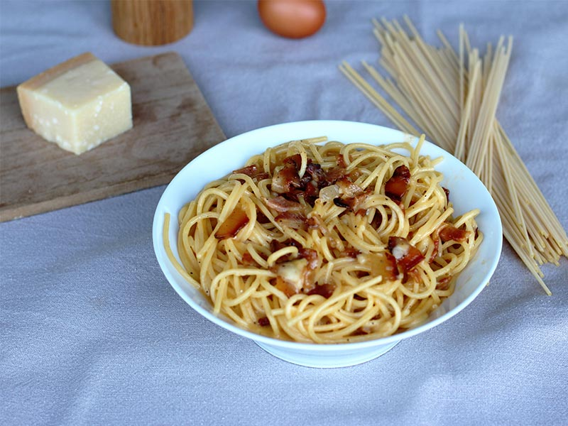 Spaguetti alla Carbonara receta restaurante italinao Orobianco