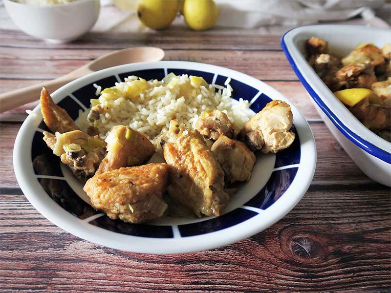 guiso de pollo al limon con verduras en olla rapida
