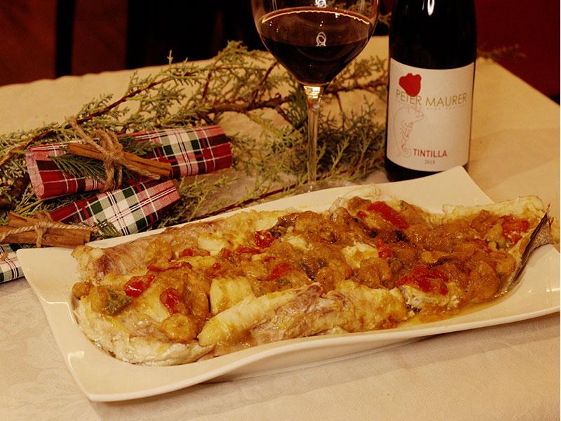 Cena de Nochebuena Merluza rellena de verduras y gambas