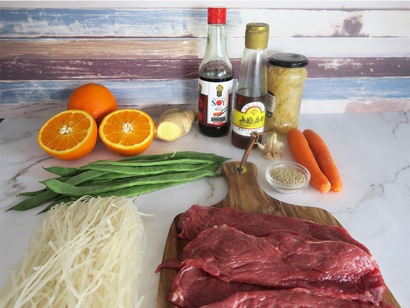 Noodles de ternera ingredientes
