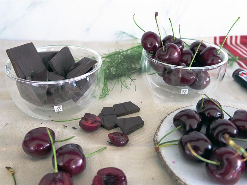 Cerezas con chocolate ingredientes