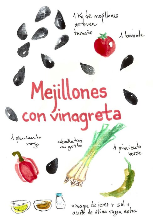 ilustracion recetas ilustradas gastronomia ilustradores mejillones dibujo