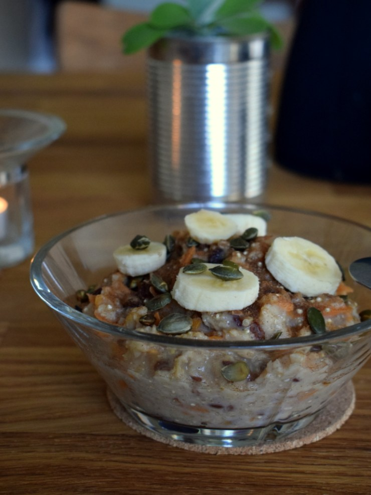 morgenmad, groed, efteraar, gulerod, havregryn, quinoa, low fodmap, gastroequation, breakfast,