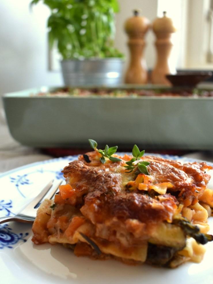 vegetar, lasagne, squash, knoldselleri, aftensmad, spinat, low fodmap, fodmap venlig, gastroequation