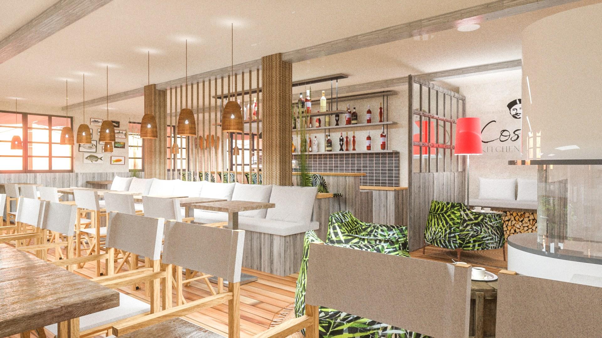 Costas Norderney: Ladenbau 3D-Visualisierung Restaurant