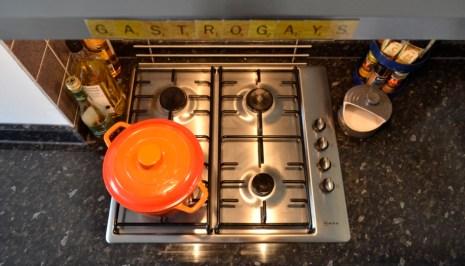 gas stove, Le Creuset, scrabble, magnets, kitchen, interior design, apartment living