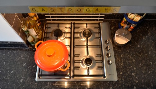gas stove, Le Creuset, scrabble, magnets, kitchen, interior design, apartment living