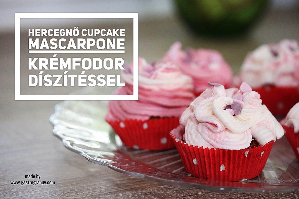 Hercegnő cupcake Mascarpone krémfodorral