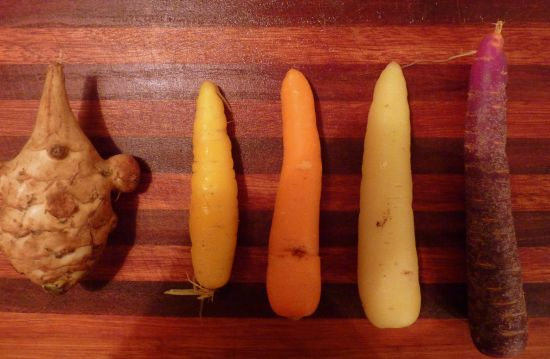 blandede gulerødder