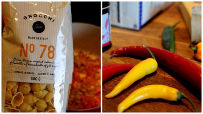 Hvid pasta og masser af chili!
