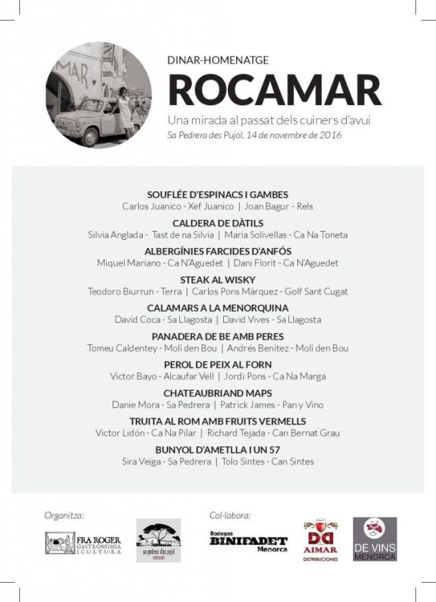 Homenatge Rocamar menu i cuiners