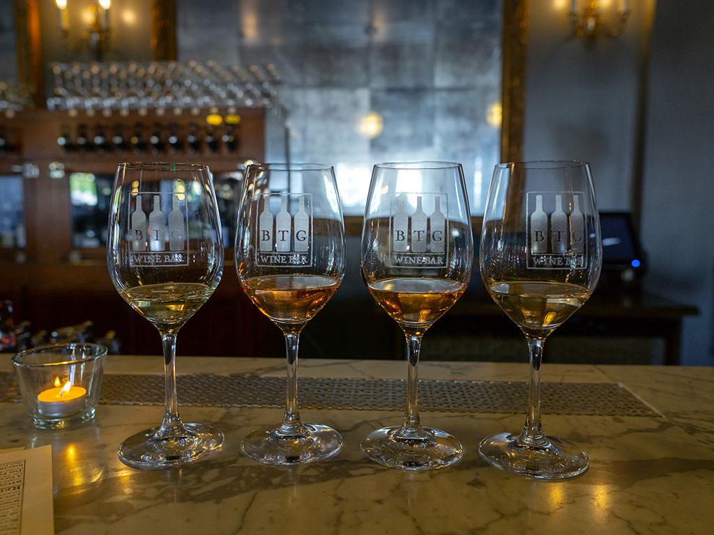 BTG Wine Bar - blushing beauties wine flight
