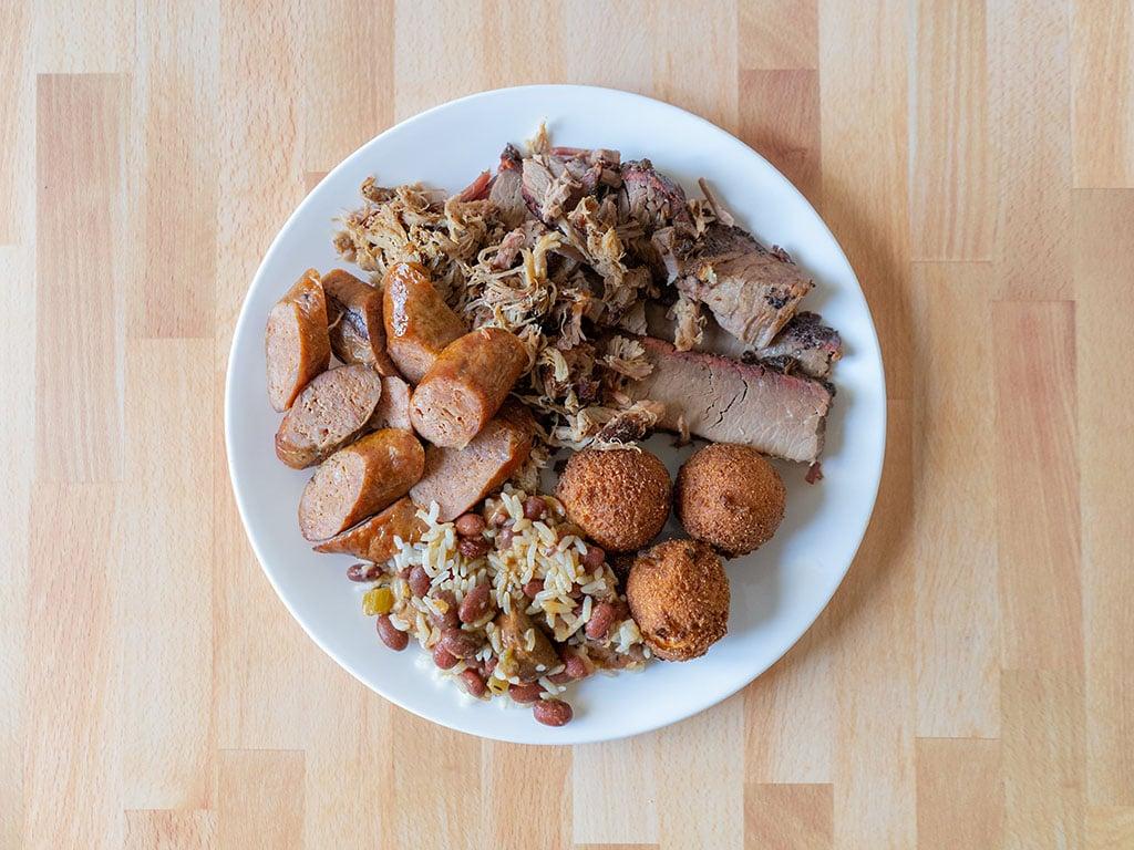 R&R BBQ - three meat plate