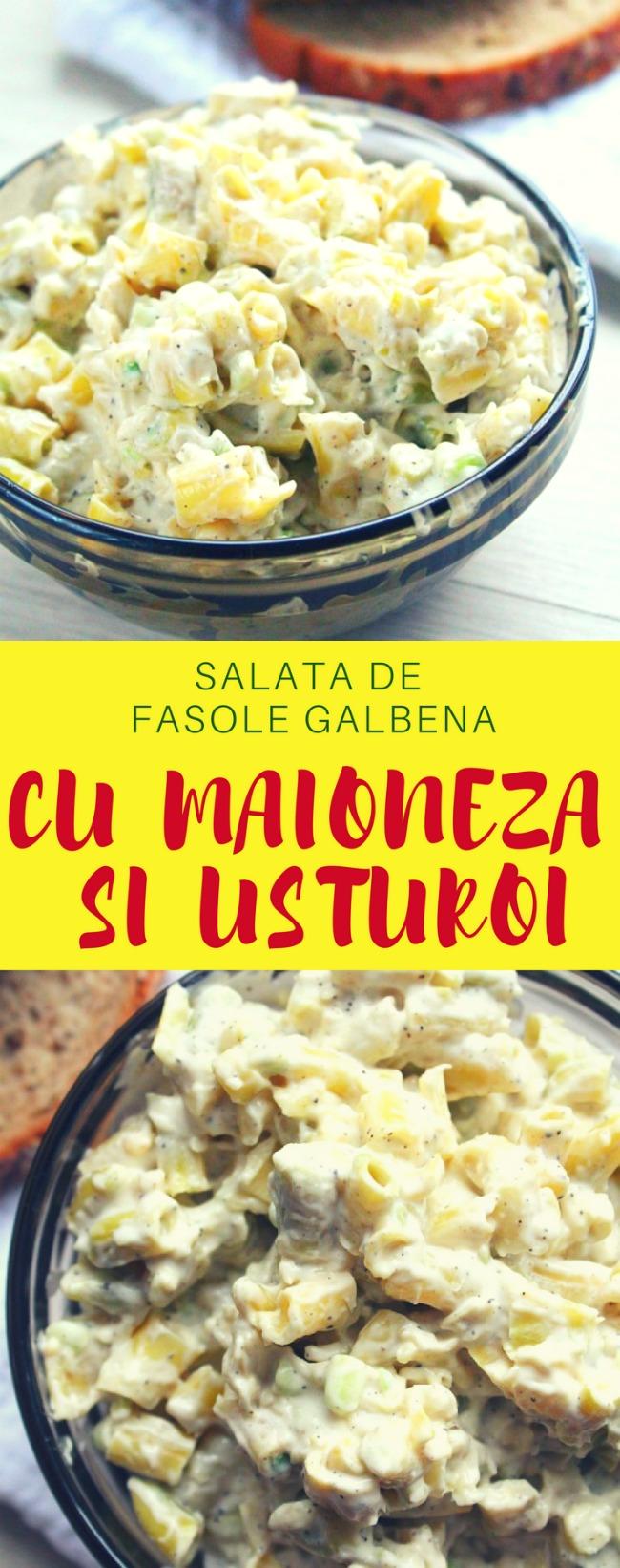 Salata de fasole galbena cu maioneza si usturoi