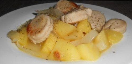 Boudins blancs sur lit de pommes