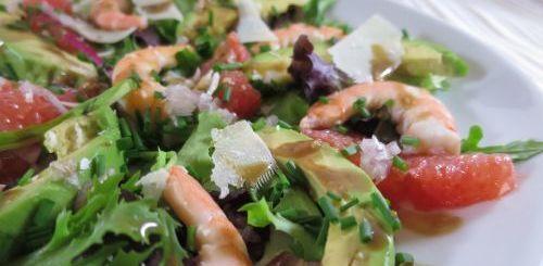 Salade avocat crevettes pamplemousse