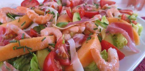 Salade melon jambon crevettes